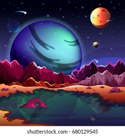 Set of planets with satellites or cosmos universe spherical star objects, isolated cartoon astronomy objects with holes or craters on surface.Supernova and galaxy, science or astrology, theme