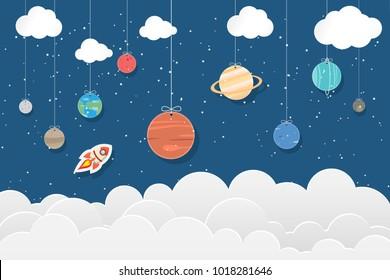 set of planets in Solar system hang on blue and star background : Mercury, Venus, Earth, Mars, Jupiter, Saturn, Uranus, Neptune, Pluto. Space illustrations