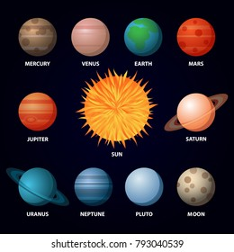 Set of Planets of Solar System with Sun and Moon. Vector Illustration. Flat Style. Icons Graphic Design for Education Classes, Study Books, Planetarium, Flayers, Banners, Posters, Cards.