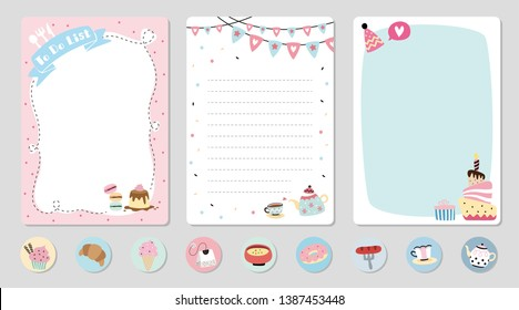 Set of planners and to do list with cute \ndessert illustrations. Template for agenda, planners, check lists, notebooks, cards, stickers, and other stationery. Vector background\n