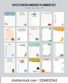 Set of planners and to do list with simple scandinavian illustrations and trendy lettering. Template for agenda, planners, check lists, and other stationery. Isolated. Vector background