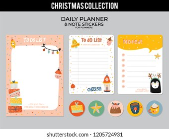 Set of planners and to do lists with Christmas scandinavian illustrations and trendy lettering. Template for agenda, planners, check lists, and other stationery. Isolated. Vector background