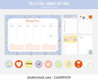 Set of planners and to do lists with cute animal illustrations and trendy lettering. Template for agenda, planners, check lists, and other stationery. Isolated. Vector. Scandinavian stationery design