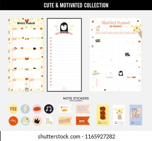 Set of planners and to fo lists with simple scandinavian illustrations and trendy lettering. Template for agenda, planners, check lists, and other stationery. Isolated. Vector.