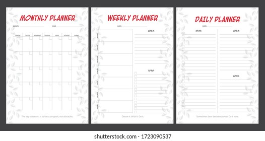 Set of planners with minimalistic floral design. Monthly, weekly, daily planner.