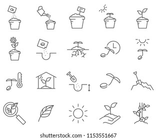 Set of plant Related Vector Line Icons. Contains such Icons as gardening, seeds, sprouts, trees, greenhouse, grass and more.