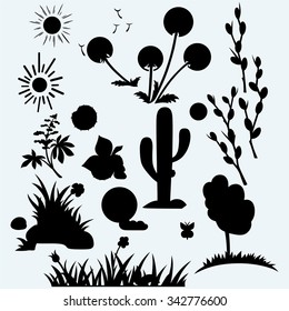 Set plants. Grass with flowers, dandelions, horse-chestnut, cactus in desert and pussy willow branches. Isolated on blue background. Vector silhouettes
