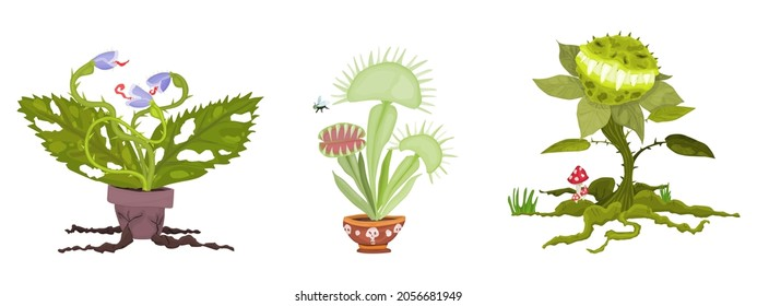 set of plants for the holiday of halloween predatory monsters. vector flat style illustration