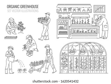 Set with plants and people cartoon characters working in greenhouse, thin black line vector illustration isolated on white background. Gardening and planting industry.