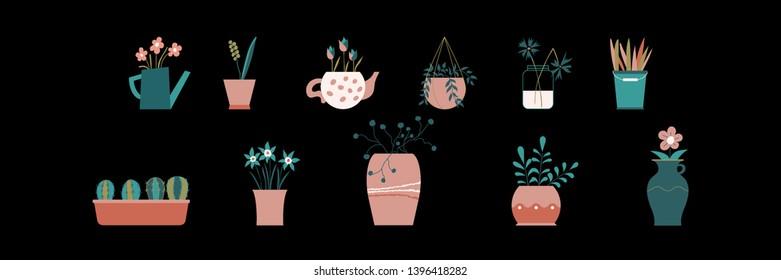 Set of plants in pots. Illustration of vase with flowers. Banch with green leaves. Ceramic vase. Glass vase. Decoe for house. Vase of flowers. Flowerpot. Hand-drawn. Flat design. Vector illustration.