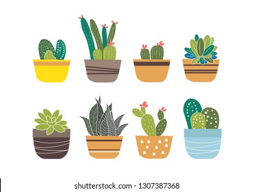set of plants in pots isolated on white-vector