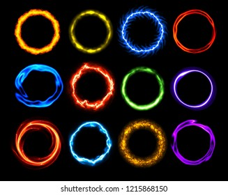 Set of Plasm Rings - Vector Flame, Neon and Plasma Round Frames  - Abstract Collar Plasm Templates