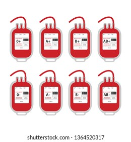 Set of plastic blood bags for blood transfusion with label and text for different blood types in flat style isolated over white background. Vector illustration