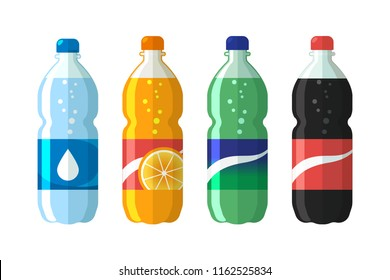 set of plastic bottle of water and sweet soda. Flat vector soda icons illustration.