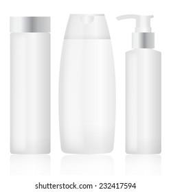 Set of plastic bottles. Cosmetic packaging