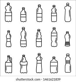 Set of plastic bottles. Vector illustration.