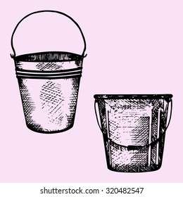set of plastic bucket, metal bucket with handle, doodle style, sketch illustration