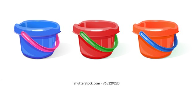 Set of plastic buckets of different colors For domestic work, for children's games in the sandbox. A realistic image. Isolated on white background. Vector illustration