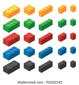 Set of plastic building blocks of different sizes. The colored elements of children's designer. Isometric vector illustration isolated on white background
