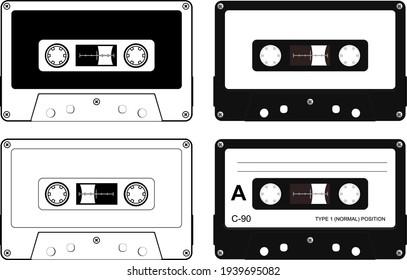 Set of plastic cassette, audio tape, retro vector illustration.