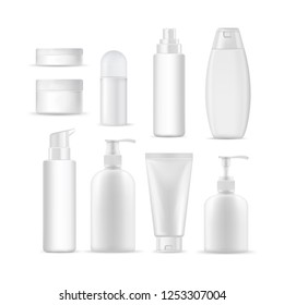 Set of plastic container for cosmetic product. Realistic vector mockup.