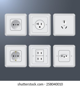 Set of plastic electrical socket different countries. Six examples
