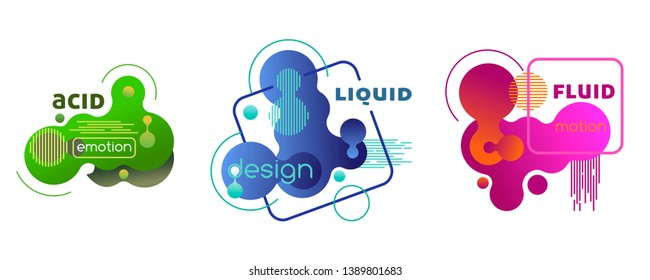 Set of plastic liquid gradient elements. Vector templates in memphis style for design covers, greeting cards, posters, banners.