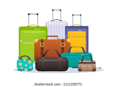 Set of plastic, metal, leather suitcases and bags in to road. Travel suitcase, journey package, travel bag, trip luggage. Collection bags, heap of luggage, suitcases, luggage. Vector illustration