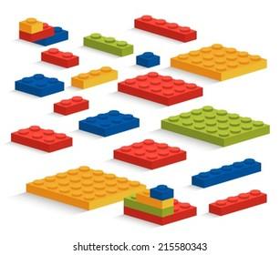 Set of plastic pieces constructor