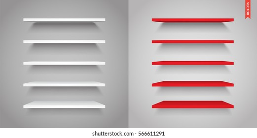 Set of Plastic Shelves Vector Isolated on the Wall Background