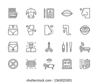 Set of Plastic Surgery Line Icons. Anesthesia Equipments, Surgeon, Liposuction, Rhinoplasty, Blepharoplasty, Hospital Operation Table, Electrocardiograph and more. Pack of 48x48 Pixel Icons