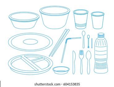A set of plastic utensils in outline art. Editable Clip Art.