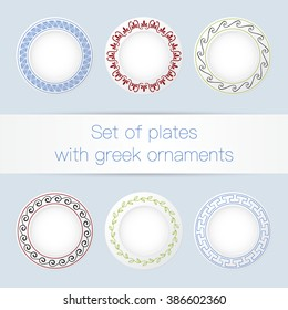 Set of plates with ancient greek ornaments. Vector illustration