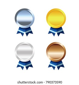 Set of platinum, gold, silver and bronze Award medals on white background, isolated image.