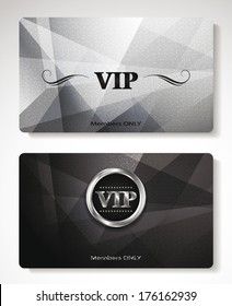 Set of platinum Vip cards with the abstract background