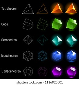 Set of platonic solids. Vector collection of geometric bodies. Realictic jewel magic crystals for game design, education, print, logo. Tetrahedron, Cube, Octahedron, Dodecahedron, Icosahedron.