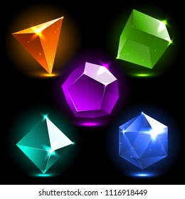 Set of platonic solids. vector isolated collection of realistic crystals. Magic bright colorful stones for mobile game design, user interface. Tetrahedron, Cube, Octahedron, Dodecahedron, Icosahedron