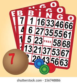 Set to play bingo with cards and chips with a wooden ball. Vector illustration.