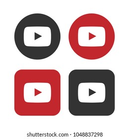 Set of play buttons icon, youtube logo symbol. Video pictogram, flat vector sign isolated on white background. Simple vector illustration for graphic and web design.