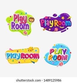Set of Play Room label text sticker childish badge
