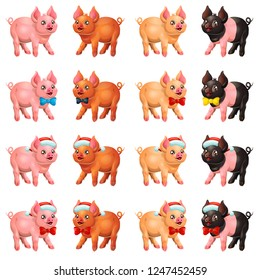 The set playful cute cheerful little pink, red, yellow and paint black pig stand with Santa Claus cap and bow. A cartoon vector illustration isolated on white.