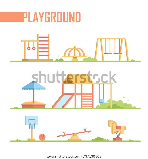 白い背景に遊び場エレメントのセット 現代のベクターカー