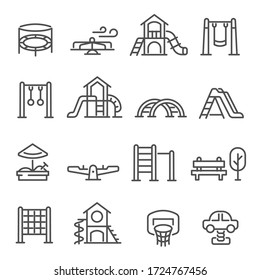 Set of playground equipment thin line icons isolated on white. Playpit, kindergarden outline pictogram collection, logos. Kid`s swing, slide, sandbox, climber vector elements for infographic, web.
