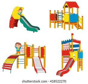 Set of Playgrounds for children. Vector Illustration