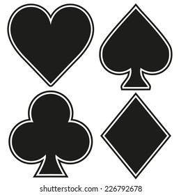 Set of playing card four symbols on white background. Vector Illustration.