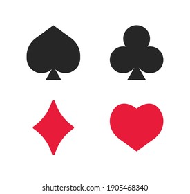 Set of playing cards symbols on a white background. Vector illustration.