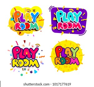 Set of playroom kids colorful logos. Children Playground. Banner design cartoon fun vector illustration. Isolated on white background