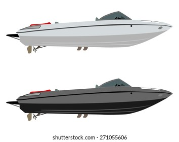 Set pleasure boats of different colors