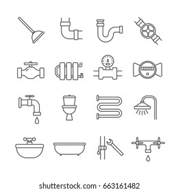 Set of plumber Related Vector Line Icons. Includes such Icons as plumbing, pipes, tub, sink, toilet, siphon, water meter, plumber