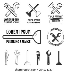 Set of plumbing service logos and signs. Vector insignia for your design